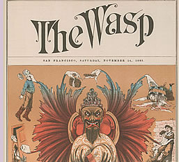 """The Wasp, v. 15, July - Dec. 1885 [cover] """"The Chinese : Many Handed But Soulless"""" The Bancroft Library"""